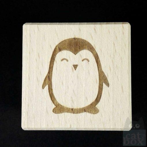 Holzwürfel Symbole positiv -Pinguin