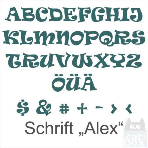 Buchstabe Schrift Alex Übersicht - catinabox.de