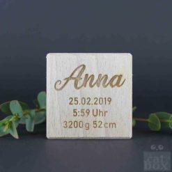 Holzwürfel Geburtswürfel - catinabox Schrift Anna