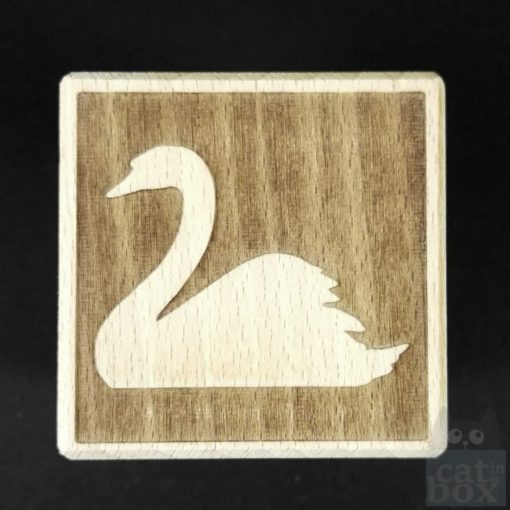 Holzwürfel Symbole negativ -Schwan
