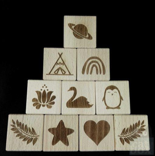 Holzwürfel Symbole positiv - Titelbild