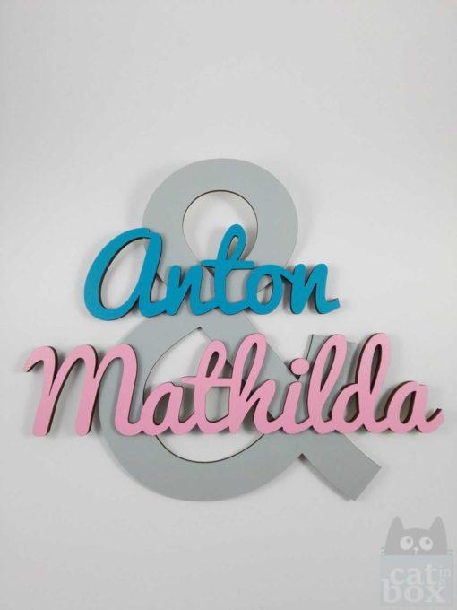 Türschild Geschwister - Anton2 - catinabox.de